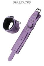 Bracelets poignets cuir violet - Paire de menottes de poignets en cuir violet de la gamme Crave Line - by Spartacus.