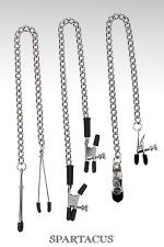 Set 3 chaînes pince-seins Spartacus - 3 styles de pinces ajustables, variété et sensations assurées : pinces simples, pinces alligator et pinces larges à vis.