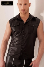 Veste sans manches Groove - Veste sans manches en wetlook, style army avec ses poches de poitrine à rabats, ses épaulettes et le pli dorsal surpiqué.